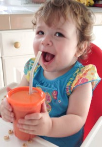 Wynnie and her oatmeal smoothie